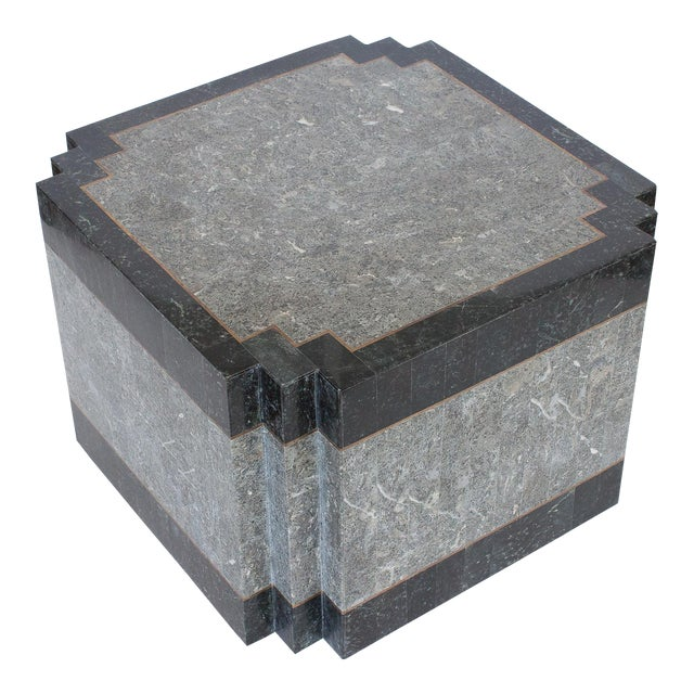 S Maitland Smith Tessellated Stone Brass Side Table Chairish - Black and brass side table