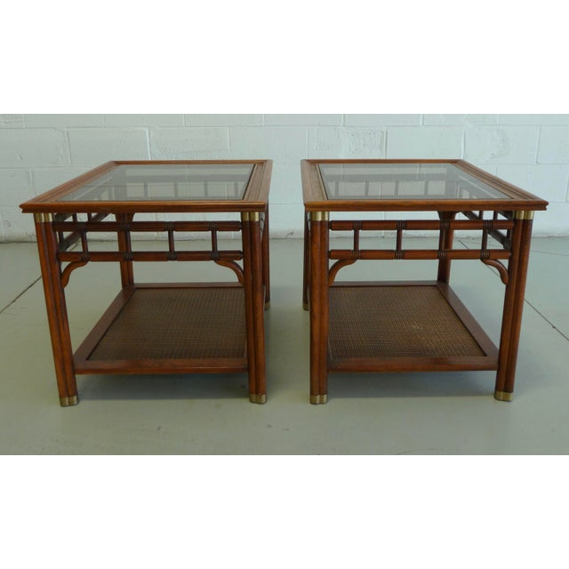 Vintage Faux Bamboo & Cane Regency Side Tables - a Pair For Sale - Image 12 of 12