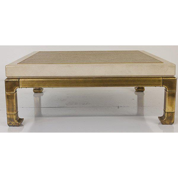 Mastercraft Mastercraft Coffee Table With Faux Snake Skin Embossed Leather and Hefty Brass Legs For Sale - Image 4 of 10