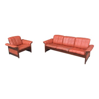 Ekornes Bentwood and Leather Sofa and Lounge Chair Set - a Pair For Sale