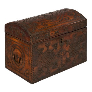 French 19th Century Napoleon III Period Leather Box For Sale