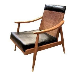 Mid Century Caned Back Lounge Chair