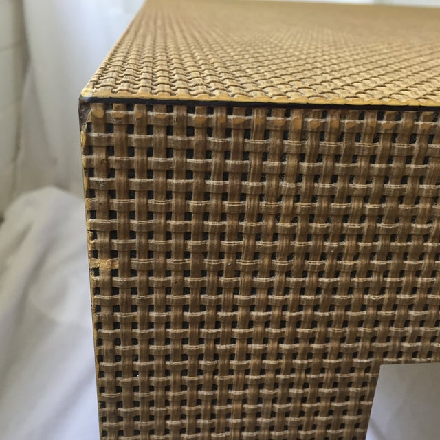 Woven Parsons Coffee Table For Sale In Cincinnati - Image 6 of 7