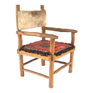Rustic Adirondack Hooked Rug Arm Chairs For Sale