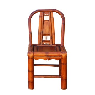 Handmade Classic Oriental Village Bamboo Relax Back Chair For Sale