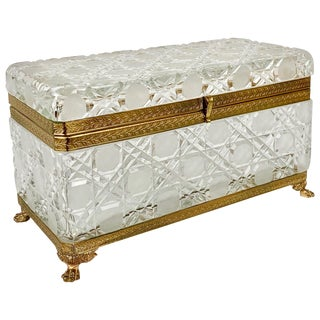 Large Cut Crystal Box with Gilt Frame For Sale