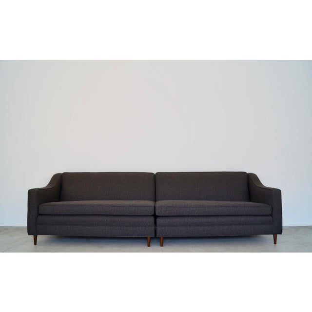 Charcoal Mid-Century Modern Reupholstered 3-Piece Sectional Sofa For Sale - Image 8 of 13