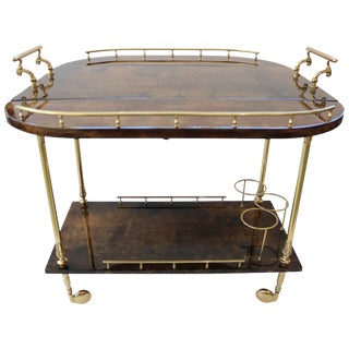 1960s Goatskin and Brass Bar Cart by Aldo Tura For Sale