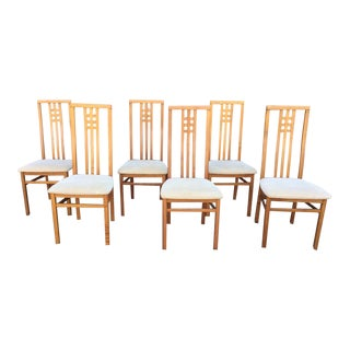 1990s Vintage Italian High Back Dining Chairs- Set of 6 For Sale