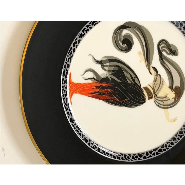 Art Deco Vintage Collectable Erte Flames D' Amour Bone China Plate For Sale - Image 3 of 6
