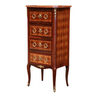 Early 20th Century French Louis XV Walnut Four-Drawer Chest With Red Marble Top For Sale