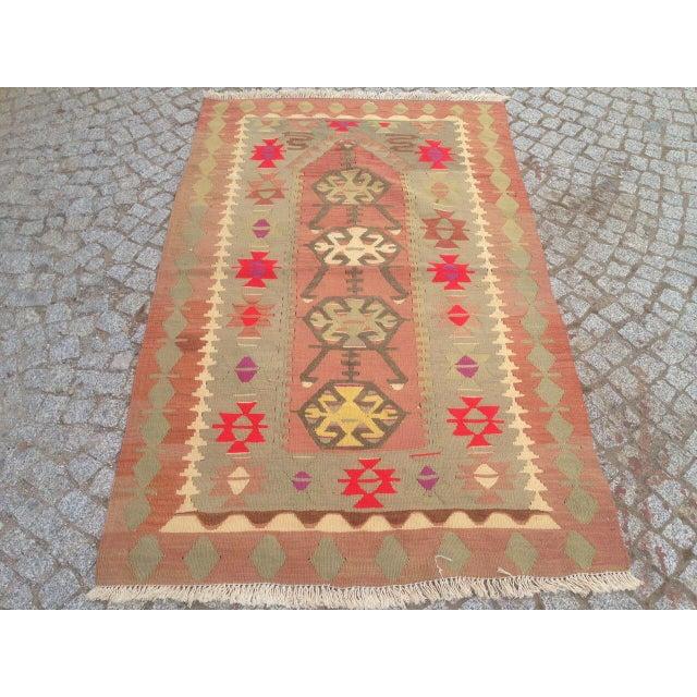 """Vintage Anatolian Oyshak Rug -- 3' x 4'11"""" For Sale - Image 4 of 6"""