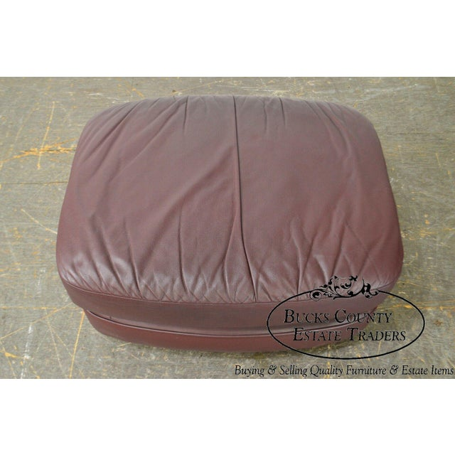 Classic Leather Bun Foot Russet Brown Leather Ottoman For Sale - Image 4 of 13