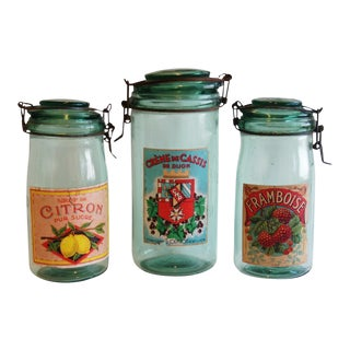 French 1930s Canning Preserve Jars with Labels- Set of 3