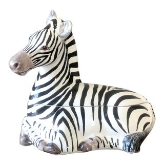 Vintage Vietri Italian Pottery Zebra Covered Dish For Sale