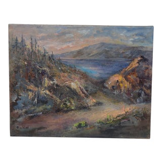 "Irina Roublon ""Luminous Mountain Landscape"" Oil Painting C.1960s For Sale"
