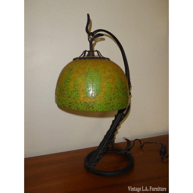 Art Deco French Cameo Glass Green Table Lamp Light by Charder ~Charles Schneider For Sale In Los Angeles - Image 6 of 10