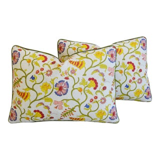 "Floral Raoul & Scalamadre Mohair Feather/Down Pillows 23"" X 16"" - Pair For Sale"