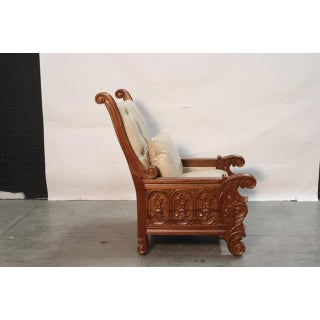 Hand Carved Colonial Arm Chair With Ivory Leather Preview
