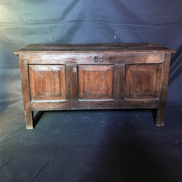 Antique English Paneled Oak Coffer Blanket Chest For Sale - Image 13 of 13