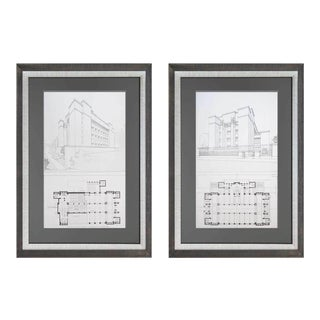 1960s Vintage Frank Lloyd Wright Larkin Building Buffalo, NY Limited Edition Lithograph Prints - A Pair For Sale