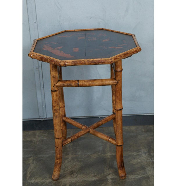 Octagonal Victorian Bamboo and Lacquer Side Table For Sale In Los Angeles - Image 6 of 7