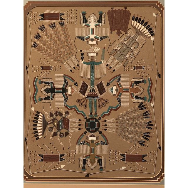 Native American New Mexico Navajo Sand Painting by Rosabelle Ben For Sale - Image 3 of 11