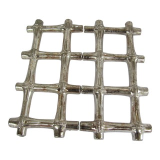 Vintage Silverplate Bamboo Trivet For Sale