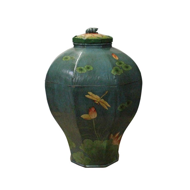 Wood Chinese Village Vintage Wood Octagon Teal Blue Lacquer Jar Shape Display For Sale - Image 7 of 7