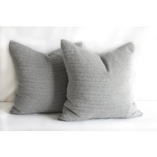 Pair of Pure Alpaca and Linen Decorative Accent Pillows in Smoke Grey Preview