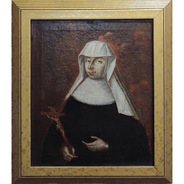17th century Italian Old Master -Portrait of a Nun - Oil painting oil painting on canvas -unsigned circa 1640s/1680s frame...