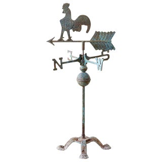 Americana Rooster or Cockerel Directional Weathervane on Stand For Sale