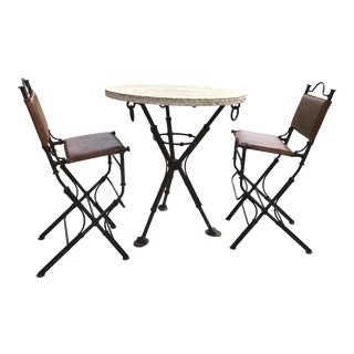 1980s Vintage Ilana Goor Iron and Travertine Bistro Set- 3 Pieces For Sale