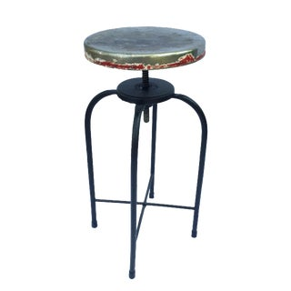 Antique Industrial Adjustable Stool For Sale