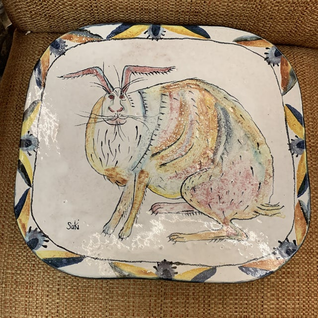 Yellow Hand Painted Suki Diamond Rabbit Pottery Charger For Sale - Image 8 of 8
