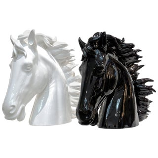 Modern Italian Oversized Black and White Ceramic Horse Head Sculptures - a Pair For Sale