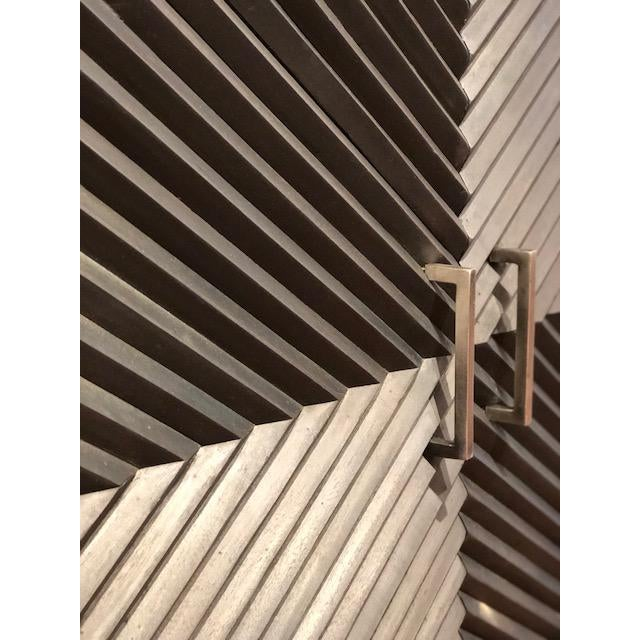 2010s Black Geometric Wood Two Door Cabinet For Sale - Image 5 of 12