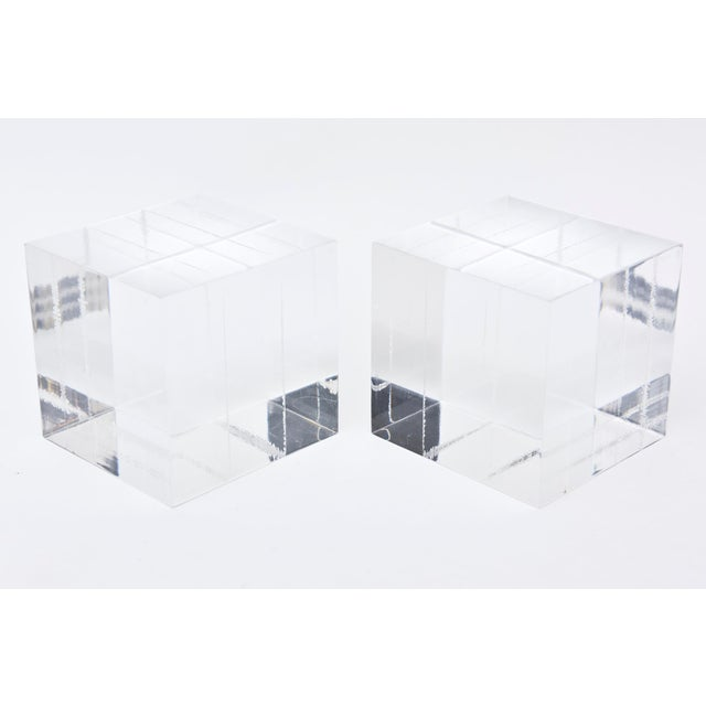 Lucite Square Cube Bookends Vintage 70's Pair Of For Sale In Miami - Image 6 of 9