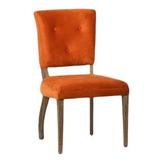 Orange Velvet Dining Chairs - Set of 4 For Sale