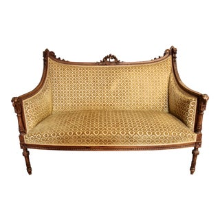 Antique Louis XVI Upholstered Settee For Sale