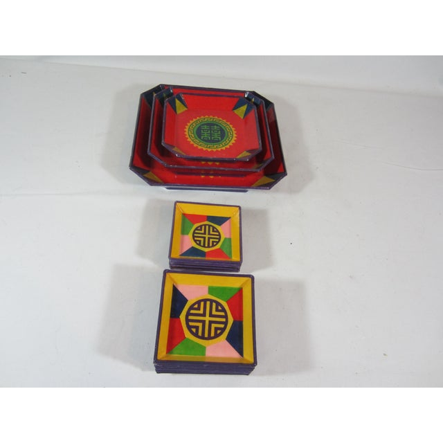 Asian Colorful Lacquered Papier-Mache Snack Set For Sale - Image 3 of 6