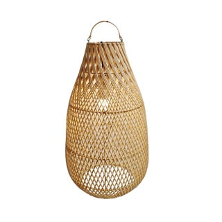 Raw Rattan Bottle Lantern Medium For Sale