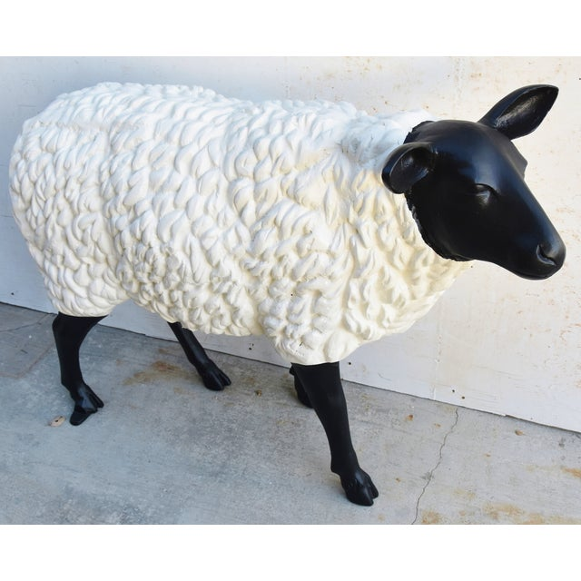 Abstract Vintage Metal Life-Size Sheep Lamb Garden, Patio, Lawn or House Statue For Sale - Image 3 of 13