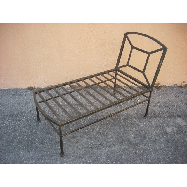 Classic Metal Chaise With Custom Cushions - Image 4 of 11
