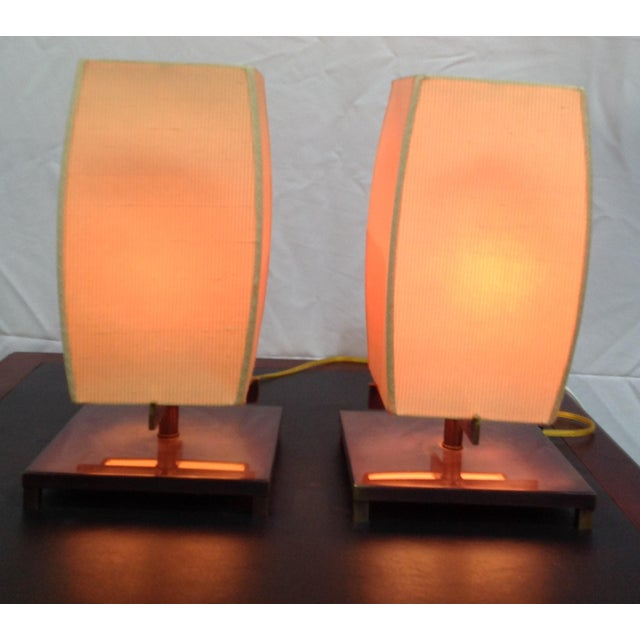 Vintage Frederick Cooper Chicago Japanese style lamp pair. Two-way switch. These beauties create a soft glow mood when...
