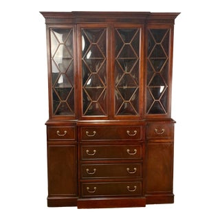 Vintage Mahogany Duncan Phyfe Style Secretary Desk & Hutch For Sale