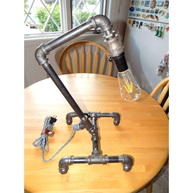Hand-Crafted Industrial Table Light For Sale - Image 4 of 9