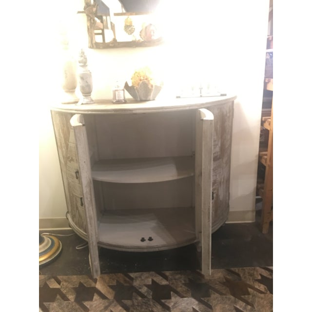 Paint Distressed Grey Demi-Lune Cabinet For Sale - Image 7 of 12