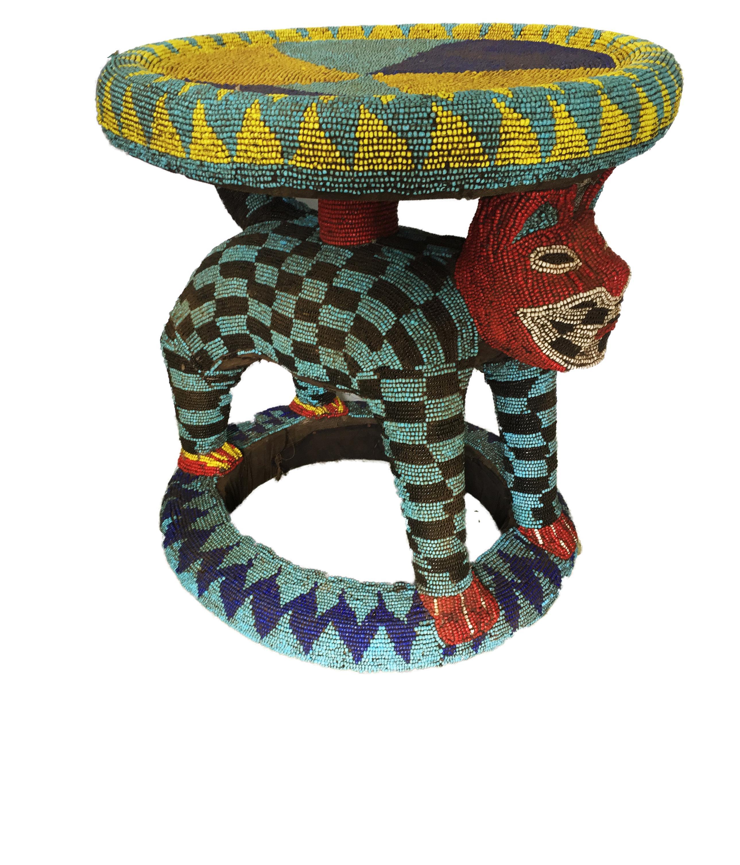 Lg African Beaded Wood Bamileke Stool Table Cameroon 23
