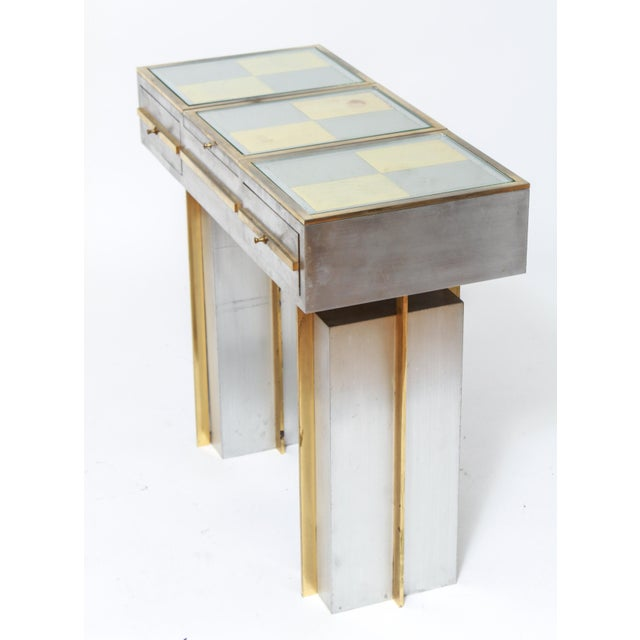 Modern Steel Vanity Table and Stool In Style Of Maison Jansen - a Pair For Sale In New York - Image 6 of 13